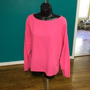 Soft surroundings long sleeve blouse size S pink